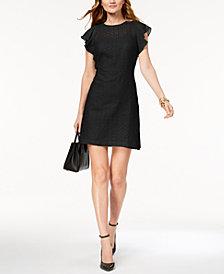 MICHAEL Michael Kors Petite Embroidered Ruffle-Sleeve A-Line Dress