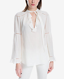Max Studio London Cotton Tie-Neck Top, Created for Macy's