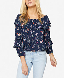 Sanctuary Aisley Floral-Print Ruffled Blouse