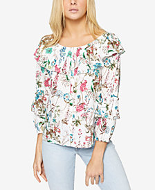 Sanctuary Avery Cotton Floral-Print Ruffled Blouse