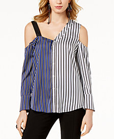 I.N.C. Striped Asymmetrical Cold-Shoulder Top, Created for Macy's