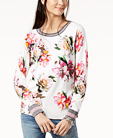 I.N.C. Floral-Print Varsity Top, Created for Macy's