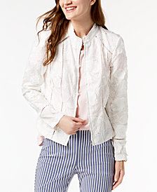 I.N.C. Petite Eyelash Embroidered Floral Jacket, Created for Macy's