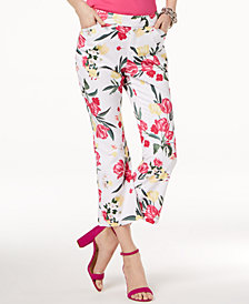 I.N.C. Cropped Floral-Print Pants, Created for Macy's
