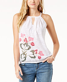 I.N.C. Petite Printed Burnout Top, Created for Macy's