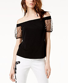 I.N.C. Off-The-Shoulder Mesh-Sleeve Top, Created for Macy's