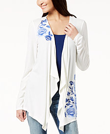 I.N.C. Embroidered Draped Cardigan, Created for Macy's