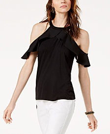 I.N.C. Cold-Shoulder Halter Top, Created for Macy's