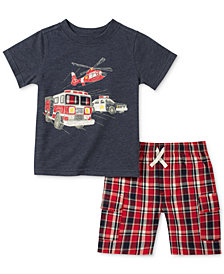 Kids Headquarters 2-Pc. Rescue-Print T-Shirt & Plaid Cargo Shorts Set, Baby Boys