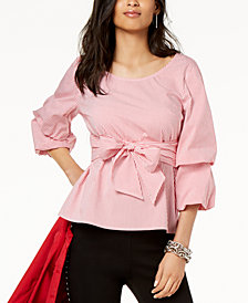 I.N.C. Striped Tiered-Sleeve Shirt, Created for Macy's