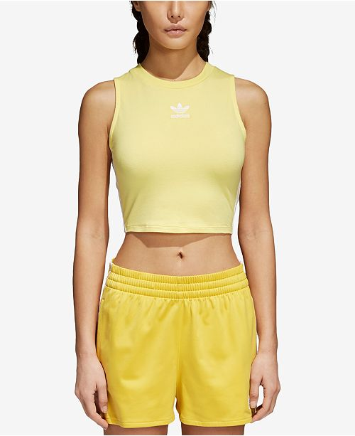 3625122fc92039 adidas adicolor Cotton Cropped Tank Top   Reviews - Tops - Women ...
