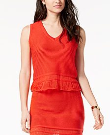 Moon River Sleeveless V-Neck Sweater