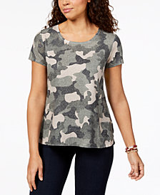 Style & Co Petite Cotton Camouflage Top, Created for Macy's