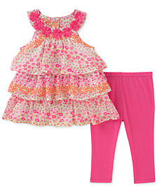 Kids Headquarters 2-Pc. Tiered Ruffle Tunic & Leggings Set, Baby Girls