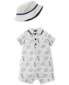 Little Me 2-Pc. Safari-Print Cotton Romper & Hat Set, Baby Boys