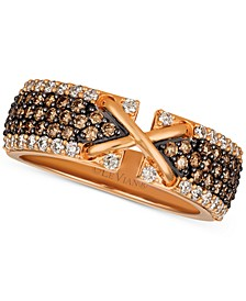 Strawberry & Nude™ Diamond Crisscross Band (9/10 ct. t.w.) in 14k Rose Gold