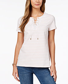 Charter Club Embroidered Lace-Up T-Shirt, Created for Macy's