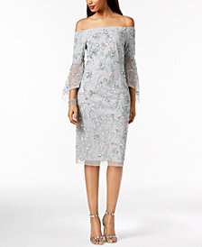 Adrianna Papell Beaded Off-The-Shoulder Dress
