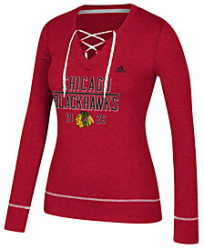 adidas Women's Chicago Blackhawks Skate Lace Long Sleeve T-Shirt