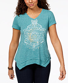 Style & Co Printed Asymmetrical-Hem T-Shirt, Created for Macy's