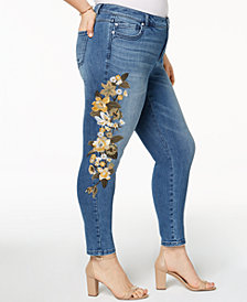 I.N.C. Plus Size Embroidered Skinny Jeans, Created for Macy's