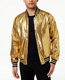 Tallia Orange Men's Slim-Fit Gold Sequin Bomber Jacket
