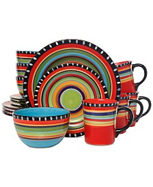Gibson Pueblo Springs 16-Pc. Hand-Painted Dinnerware Set