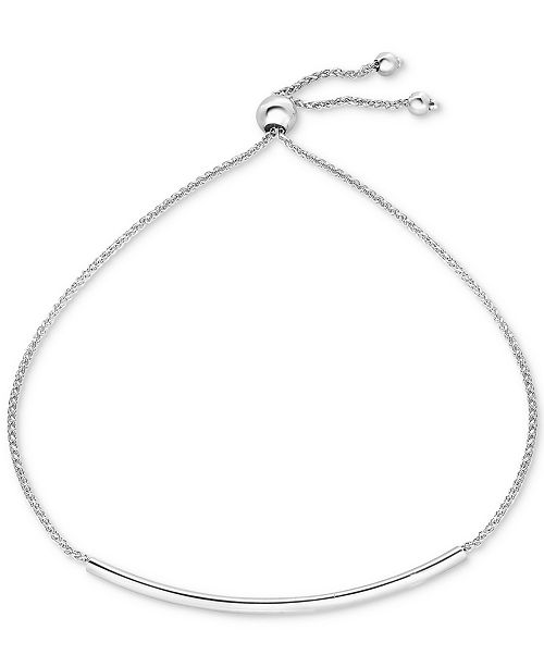 Macy's Polished Bar Bolo Bracelet in 10k White Gold
