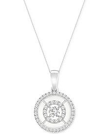 MAGNIFICENCE Diamond Double Open Halo Pendant Necklace (1/4 ct. t.w.) in 14k White Gold