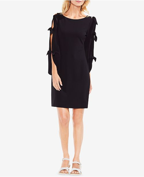 Crêpe Camuto Shift Black Rich Dress Vince Sleeve Tie Ogxpvqwq