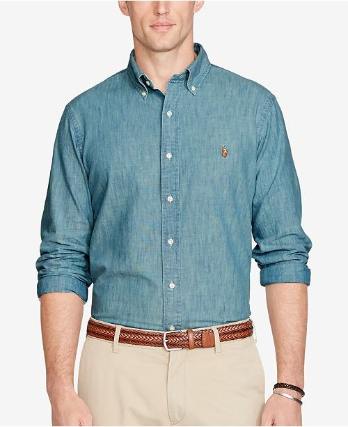 f4d80139a ... Polo Ralph Lauren Men's Long Sleeve Classic-Fit Chambray Shirt ...
