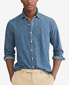 폴로 랄프로렌 Polo Ralph Lauren Mens Classic-Fit Denim Shirt,Denim