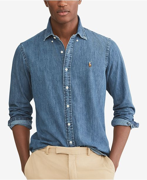 e5479037943 Polo Ralph Lauren Men's Classic-Fit Denim Shirt & Reviews - Casual ...
