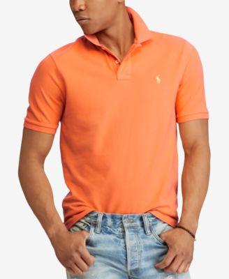 Ralph Lauren Men Custom-Fit Orange Mesh Polo