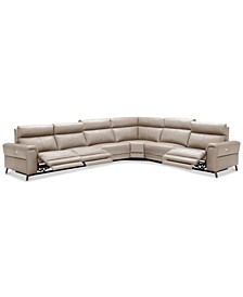 CLOSEOUT! Raymere 6-Pc. Leather Sectional Sofa With 3 Power Recliners, Power Headrests And USB Power Outlet, Created for Macy's