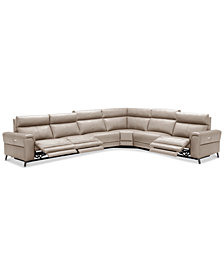 Raymere 6-Pc. Leather Sectional Sofa With 3 Power Recliners, Power Headrests And USB Power Outlet, Created for Macy's