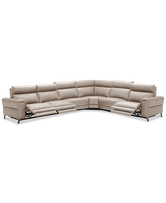 Furniture - Raymere 6-Pc. Leather Sectional Sofa With 3 Power Reclining Chairs, Power Headrests, And USB Power Outlet