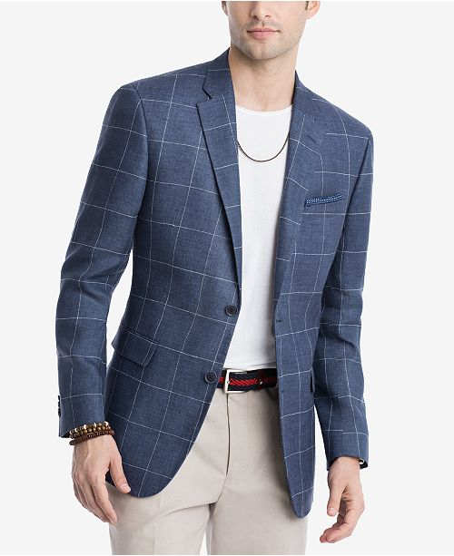 Tommy Hilfiger CLOSEOUT! Men's Modern-Fit Navy/White Windowpane Linen Sport Coat