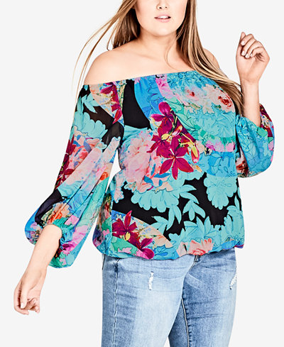 City Chic Trendy Plus Size Printed Off-The-Shoulder Top