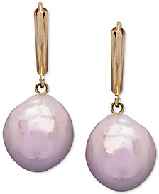 Honora Style Pink Cultured Freshwater Pearl (12 mm) Drop Earrings in 14k Gold