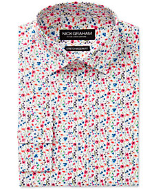 Nick Graham Men's Slim-Fit Stretch Easy-Care Multi Floral Print Dress Shirt