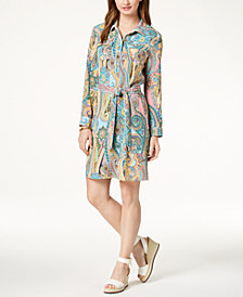 Tommy Hilfiger Paisley Tie-Belt Shirtdress