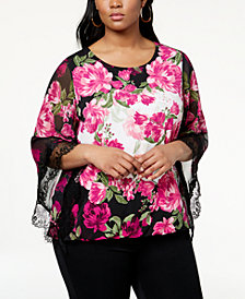 Alfani Plus Size Lace-Trim Kimono-Sleeve Top, Created for Macy's