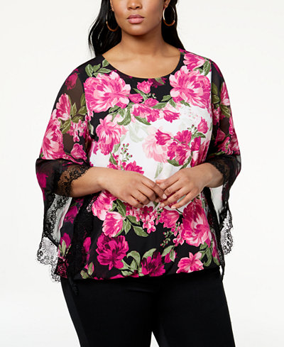 Alfani Plus Size Lace-Trim Kimono-Sleeve Top, Created for Macy's