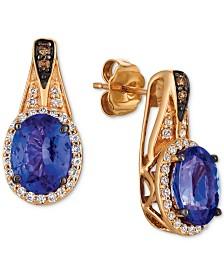 Le Vian Chocolatier® Blueberry Tanzanite (2 ct. t.w.) & Diamond (1/3 ct. t.w.) Drop Earrings in 14k Rose Gold