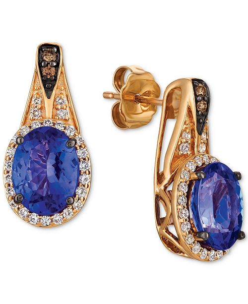 Le Vian Chocolatier® Blueberry Tanzanite (2 ct. t.w.) & Diamond (1/3 ct. t.w.) Drop Earrings in 14k Rose Gold