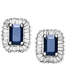 Gemma by EFFY Sapphire (1-1/3 ct. t.w.) and Diamond (5/8 ct. t.w.) Rectangle Stud in 14k White Gold