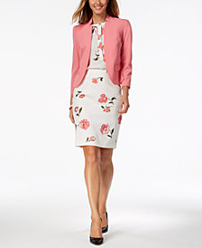 Nine West Blazer, Printed Sleeveless Blouse & Printed Pencil Skirt