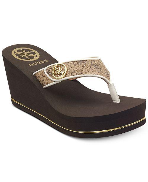 070bb6f9b45 GUESS Sarraly Eva Logo Wedge Sandals   Reviews - Sandals   Flip ...