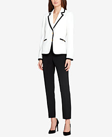 Tahari ASL Contrast-Trim Hardware Pantsuit, Regular and Petite